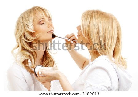 lovely blond at professional makeup studio