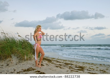lovely blond female in bikini on florida beach with windy morning surf - stock photo