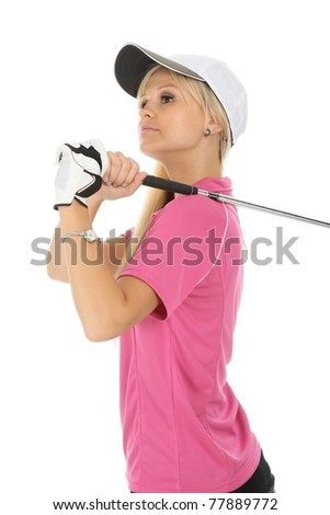 Lovely Blond Golf Woman - stock photo