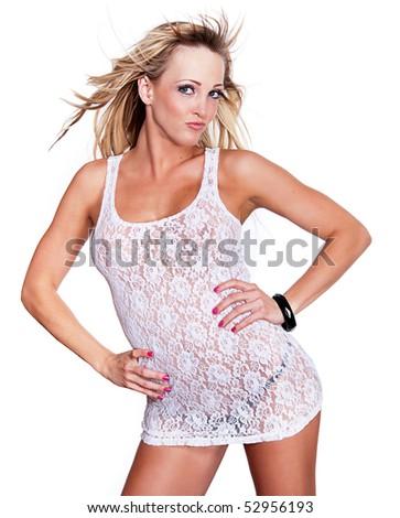 Lovely blond in Babydoll white lingerie isolated against white background. - stock photo