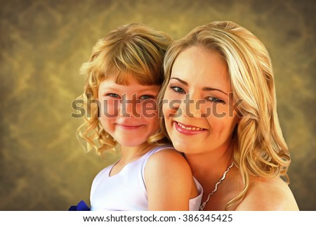 Lovely blond mom and daughter painting