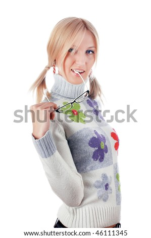lovely blonde in a sweater with flowers isolated on white