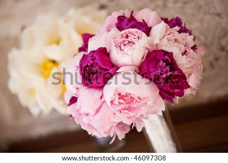 Lovely bridal and bridesmaid bouquets.. - stock photo