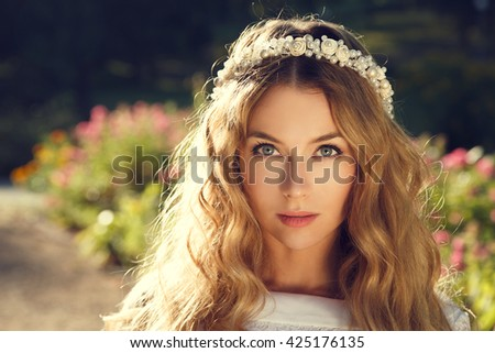 Lovely Bride on Nature Background