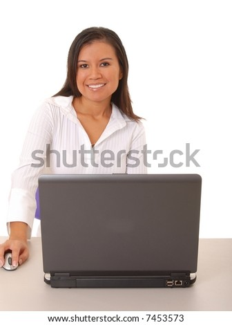 Lovely brunette business woman working at computer laptop