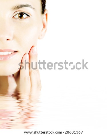 lovely brunette in water - stock photo