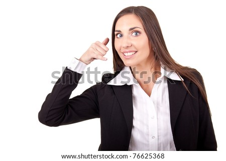lovely business woman making a call me gesture, isolated on white - stock photo