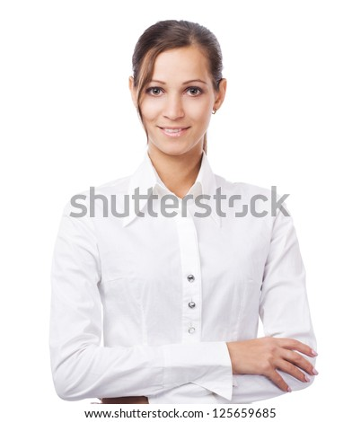 Lovely businesswoman in white shirt - stock photo