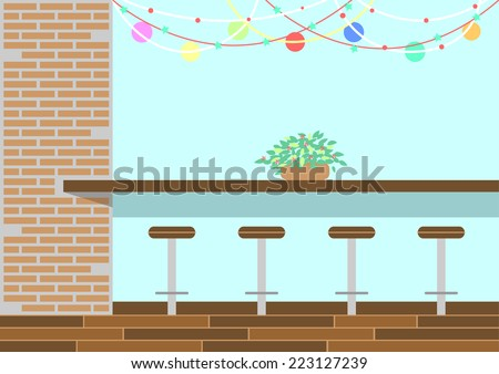 lovely cafe, coffee shop with colorful rainbow - stock photo