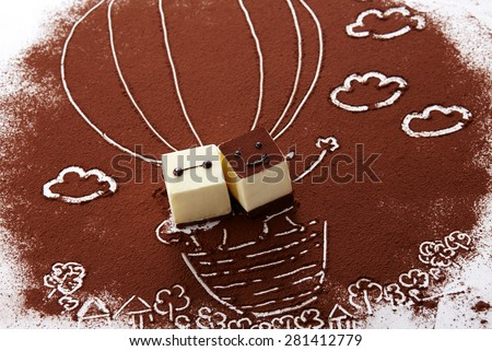 Lovely Cake on cocoa powder background, Linear illustration painted on cocoa powder