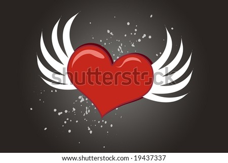 Lovely cartoon Valentine heart with wings flying - stock photo