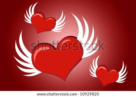 Lovely cartoon Valentine hearts with wings flying - stock photo