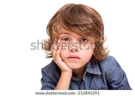 Lovely caucasian blonde kid posing for camera - stock photo