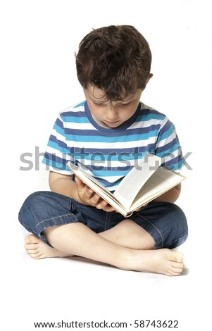 Lovely child reading a book