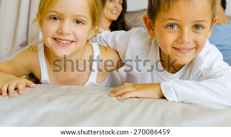 Lovely children - brother and sister - stock photo