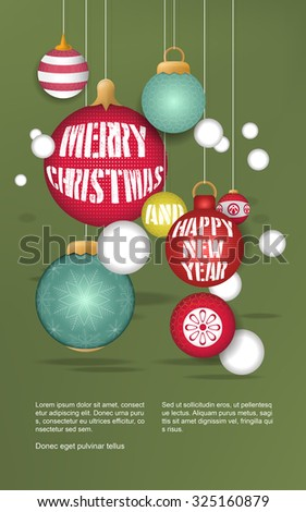 lovely Christmas baubles hanging over green background