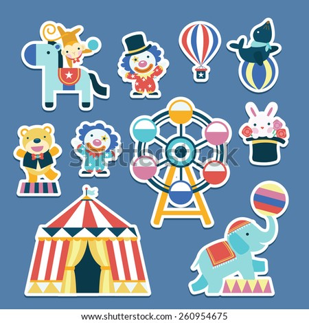 lovely circus collection set in flat design   - stock photo