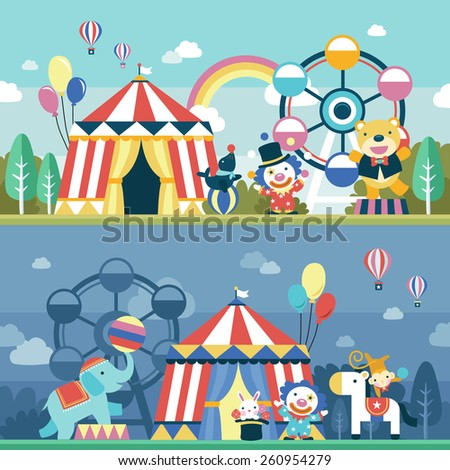 lovely circus performance scene set in flat design   - stock photo