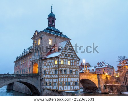 Lovely City of Bamberg, Germany at the Blue morning Hour in Winter