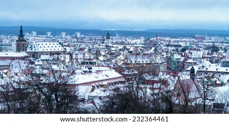 Lovely City of Bamberg, Germany at the Blue morning Hour in Winter - stock photo