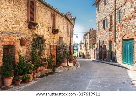 Lovely colorful streets small town in Tuscany, Italy - stock photo