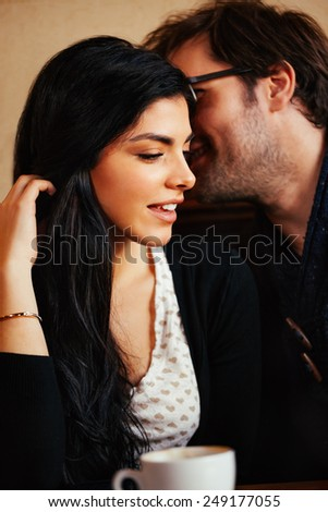 Lovely Couple Enjoying In Cafe Spending Time Together