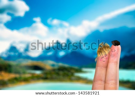 Lovely couple fingers in Patagonia - stock photo