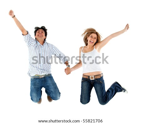 Lovely couple holding hands and jumping  - isolated over a white background