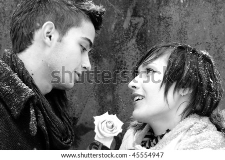 lovely couple in winter - stock photo