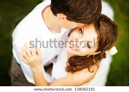 lovely couple on wedding day - soft focus - stock photo