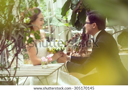 lovely couple people lifestyle romance in the nature. - stock photo