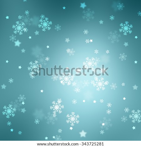 Lovely cyan colored blurry bokeh with blurred star shapes and snowflakes. Magic Christmas and New Year snowy Holiday greeting card copy space background. - stock photo