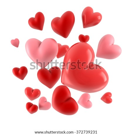 Lovely 3d hearts isolated on white.