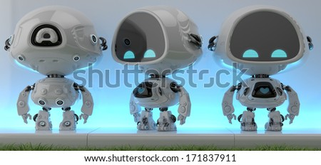 Lovely detailed little robot in 3 views/ Front, back and side views of unreal futuristic  creature on the blue glow background near grass - stock photo
