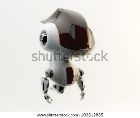 Lovely elegant future robotic toy without legs / Cute robot in air - stock photo