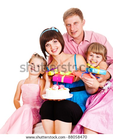 Lovely family celebrating mom's birthday - stock photo