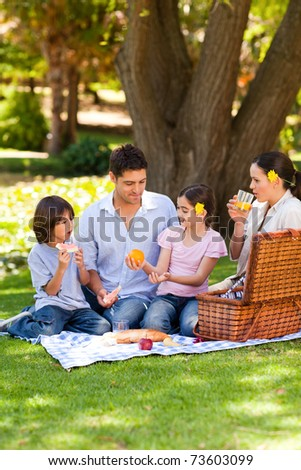Lovely family picnicking in the park - stock photo