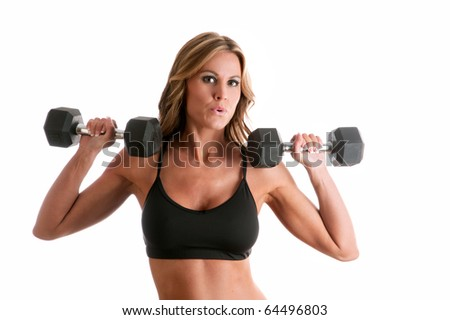 lovely female fitness model with free weight isolated against white background
