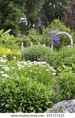 Lovely garden gate - stock photo