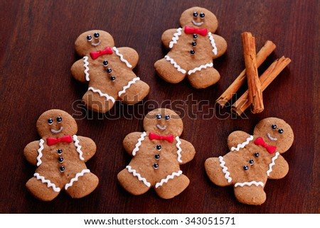 lovely gingerbread man - sweet food - stock photo