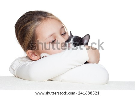 lovely girl and kitty - stock photo