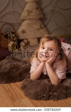 lovely girl and New Year's mood  - stock photo