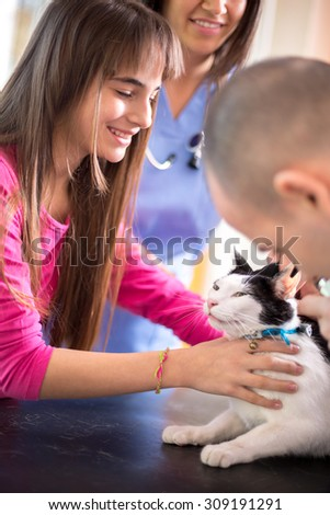 Lovely  girl calm down her sick cat in veterinary clinic - stock photo