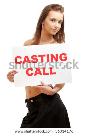 lovely girl holding casting call board over white