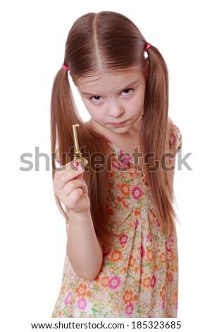 lovely girl holding golden vintage old key - stock photo