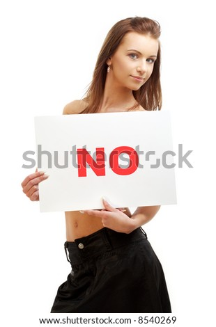 lovely girl holding no word board over white