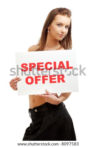 lovely girl holding special offer word board over white - stock photo
