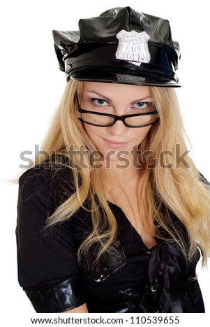 Lovely girl in a uniform of  police officer on a white background - stock photo