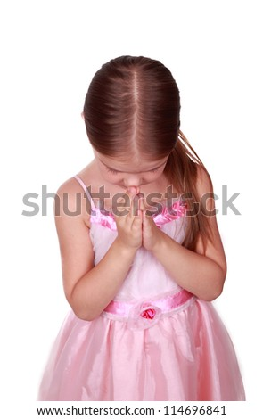 Lovely girl is praying on religion theme - stock photo