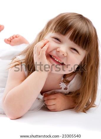 Lovely girl laughing - stock photo